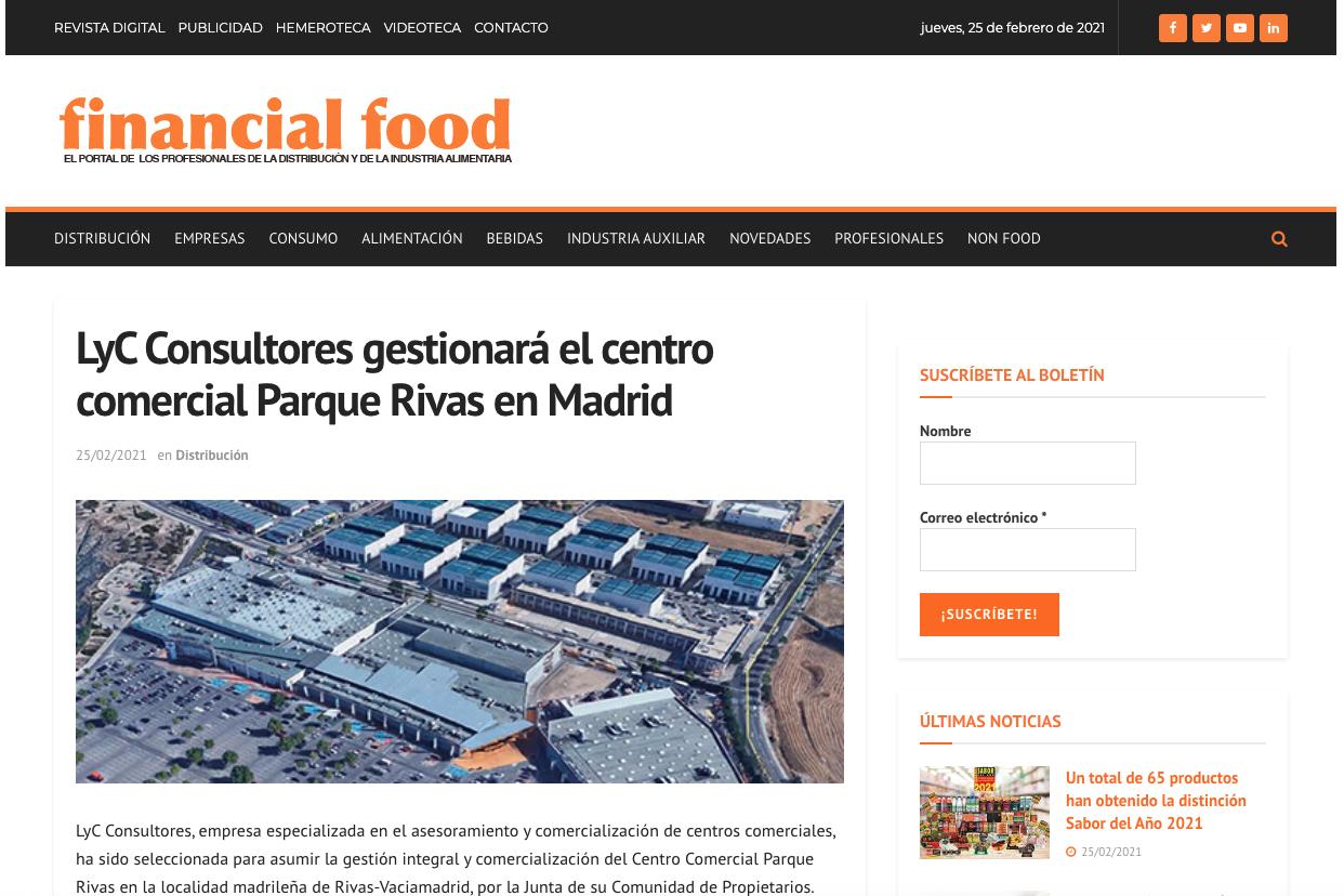 LyC Consultores gestionará el centro comercial Parque Rivas en Madrid