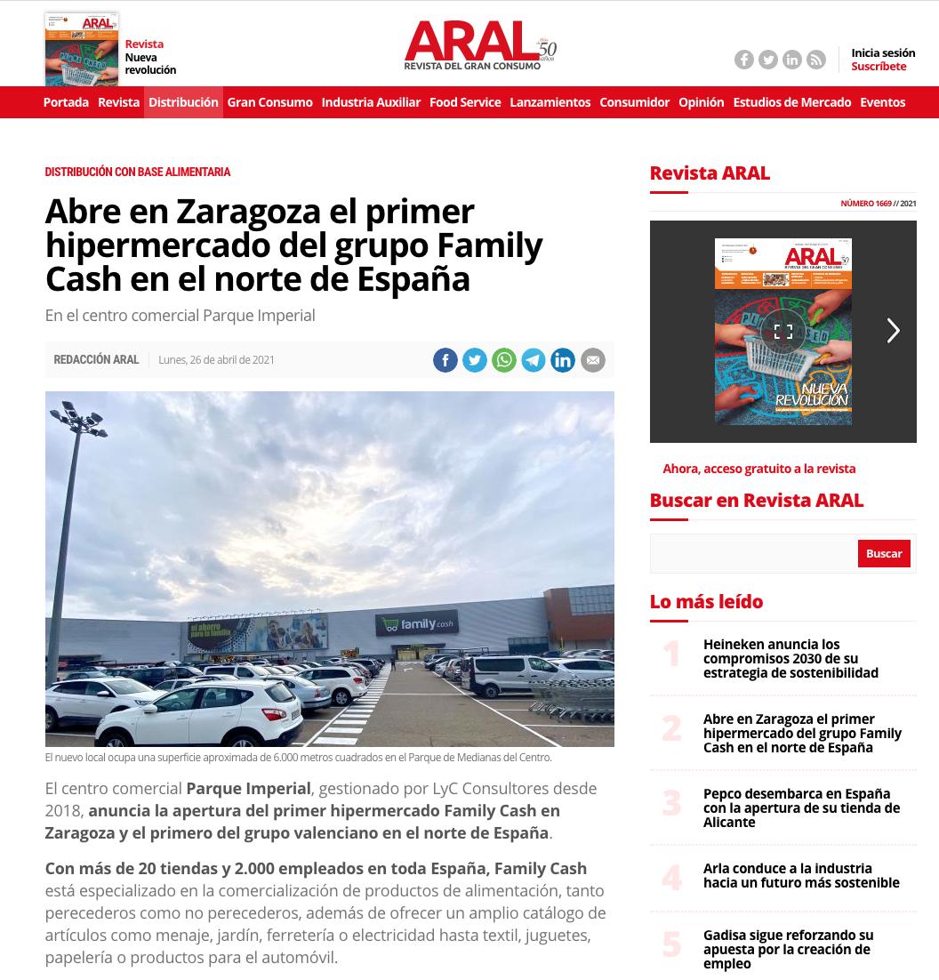 Abre en Zaragoza el primer hipermercado del grupo Family Cash en el norte de España