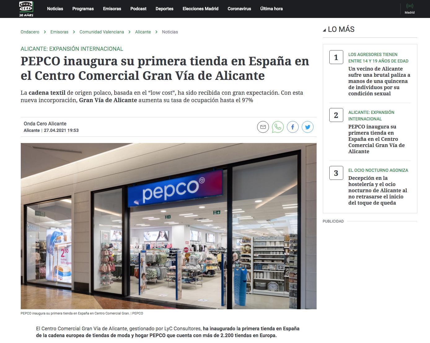 PEPCO inaugura su primera tienda en España en el Centro Comercial Gran Vía de Alicante