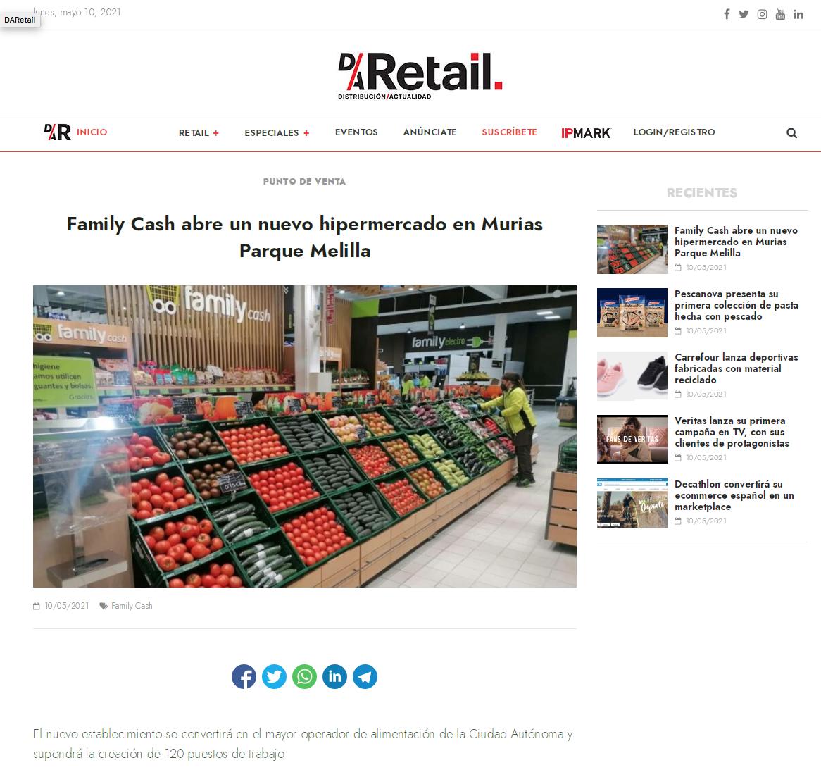 Family Cash abre un nuevo hipermercado en Murias Parque Melilla