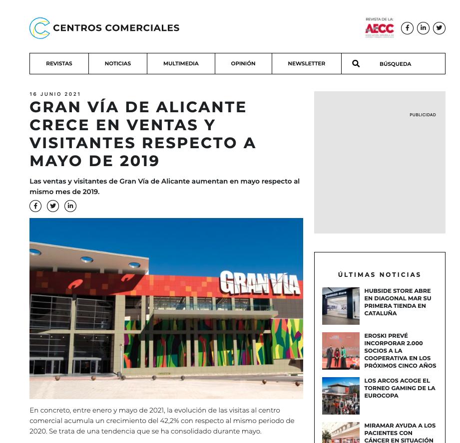Gran Vía de Alicante crece en ventas y visitantes respecto a mayo de 2019