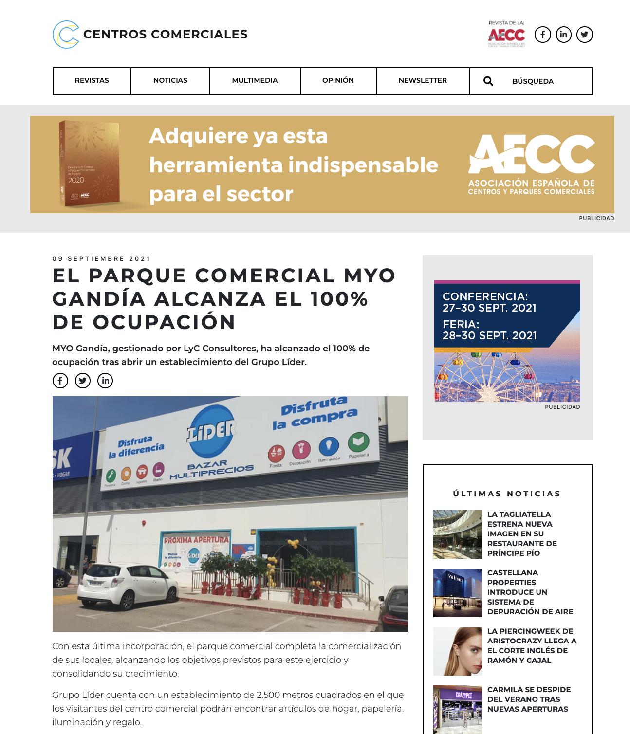 El parque comercial MYO Gandía alcanza el 100% de ocupación